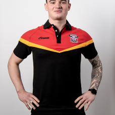 2021 Adult Polo Shirt (Cotton) - Red, Amber and Black