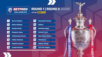 BALL NUMBERS CONFIRMED FOR BETFRED CHALLENGE CUP DRAW