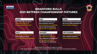 2021 BETFRED CHAMPIONSHIP FIXTURES ANNOUNCED